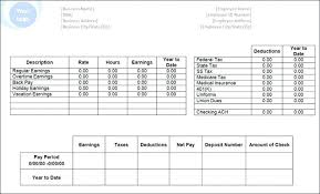 Payroll Pay Stub Template Free Pay Stub Template Fake Free Paycheck Fillable Canada Check
