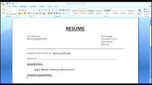 Resume Format Word Adorable HOW To MAKE A SIMPLE RESUME Cover Letter With RESUME FORMAT YouTube