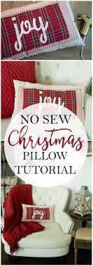 Love this no sew Christmas pillow tutorial. Such a cute plaid Christmas  pillow! Love