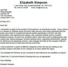 Job Application Cover Letter 2013 Receptionist Cover Letter Example Job Pinterest Cover Letter