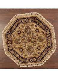 rugsville mugal hand knotted sandy brown octagon rug 3 x 3