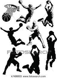 バスケットボール シルエット の 男性 クリップアート切り張りイラスト絵画集
