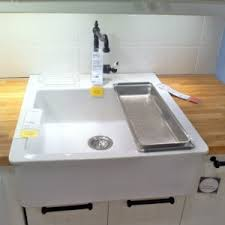 ikea white farmhouse kitchen sinks with solid wood butcher block