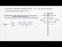 Secant Line Secant Line With Arbitrary Point With Simplification Video