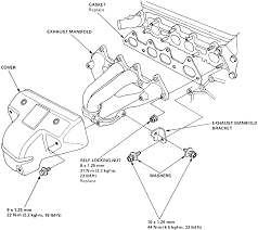 3 an exploded view of a typical honda exhaust manifold