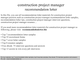 Letter Of Recommendation For Project Manager Construction Project Manager Recommendation Letter