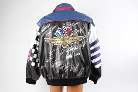 indianapolis 500 winners signed indy motor sdway leather jacket autographed by 14 mario andretti helio castroveves bobby unser a j foyt