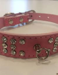 color pu leather rhinestone dog collar pet collar choker 3 row rhinestone