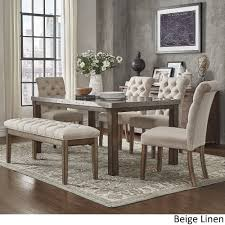 Cassidy Stainless Steel Top Rectangle Dining Table 6-Piece Set by iNSPIRE Q  Artisan ([6PC]-Bonded Leather- 4 Side chairs + Bench), Brown, Size 6-Piece  Sets