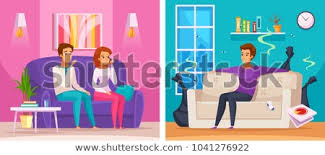 smelly apartment cartoon position with man in untidy room with trash upset neighbors vector ilration