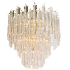 lucite and brass mid century chandelier