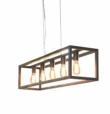 Belaluz Hanglamp Quinn 5lichts Rechthoek Met Vierkante Buis Zilver