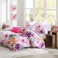 intelligent design olivia comforter set twin twin xl size purple pink fl 4 piece bed sets ultra soft microfiber teen bedding for girls bedroom