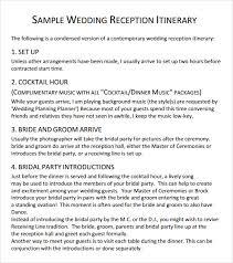 Sample Wedding Reception Schedule