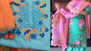 Cutwork Embroidery Designs Suits Beautiful Flower Embroidery Punjabi Salwar Suit Piece Design Ideas Simple Flower Embroidery Suits