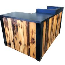 custom made 3 reclaimed torched pine wood l shaped reception desk or s counter 101 barn wood writing desk winsome custom made 3 reclaimed torched pine