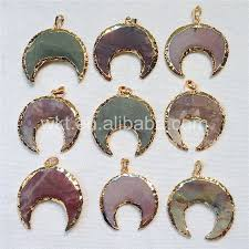 wt p760 charm indian stone pendants whole natural indian stone in 24k gold trim crescent