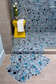 photos blue glass mosaic tile with puddling effect on floor