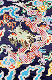 Tibetan Fabric Design Navy Blue Thick Brocade Dragon Tibetan Textile Tibetan