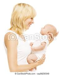 Mother and baby looking face to face, mom holding newborn kid on hands,  woman with infant child isolated over white | CanStock