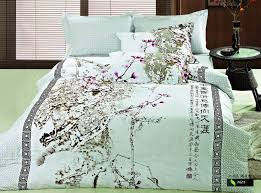 beatiful and elegant chinese style printed duvet cover set oriental style ink printed flower bedding