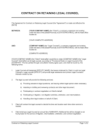 Microsoft Office Contract Template Contract On Retaining Legal Counsel Template Word Pdf