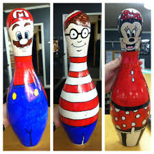 Decorated Bowling Pins Mario Waldo and Minnie Mouse bowling pin decorations for the 11