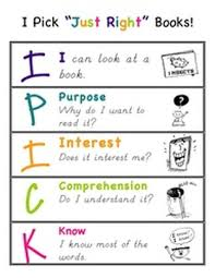 Just Right Book Chart Anchor Charts K 2 Literacy Academy