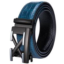 Mens Blue Designer Belts Hi Tie Casual Designer Blue Leather Belt For Jeans Luxury Crocodile Leather Mens Belt Automatic Buckle Waistband Strap Je 2030 Gym Belt Designer Belts