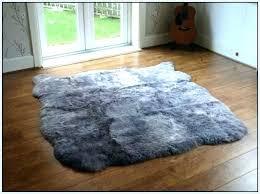 gray faux fur rug sheepskin grey black big