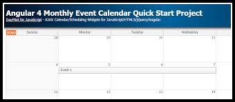 Angular 4 Monthly Event Calendar Quick Start Project | DayPilot Code
