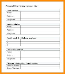 Family Contact List Template Business Contact List Template Free Contact List Template Contact