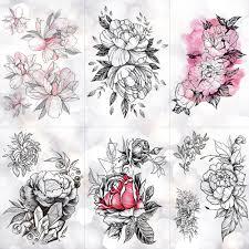 эскиз цветок пион роза водонепроницаемый временные татуировки стикер черные