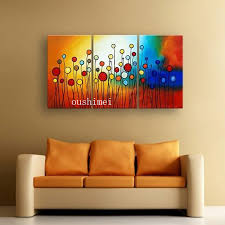 100 hand painted circle colorful flowers abstract landscape wall home decor oil painting on canvas 3pcs set 3d picture aliexpress mobile