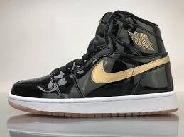 air jordan 1 retro high black gold patent leather ua quality male