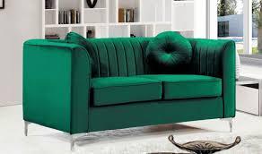 Turquoise Living Room Set 612 Isabelle Living Room Set In Green Velvet By Meridian Furniture