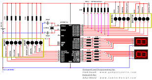 4 way traffic light control system circuit diagram using at89c52 microcontroller