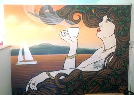 this auckland cafe mural is influenced by art nouveau