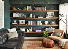reading room library with black leather couch