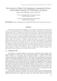 Pdf Error Analysis Of Subject Verb Agreement In Argumentative