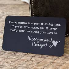 Metal Wallet Card Insert With Engraved Quote For Missing Someone Long Distance Relationship Gift For Boyfriend Or Friends Military Deployment Gift