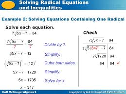 holt mcdougal algebra 2 solving radical equations and inequalities 7 example 2 solving equations containing