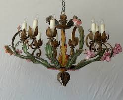 italian 18th century painted metal chandelier with pink porcelain flowers