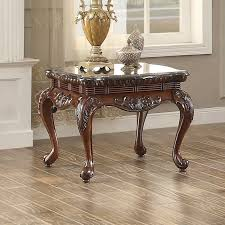 mariacarla dark cherry end table with marble top