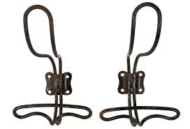 pair of vintage french wire coat hooks