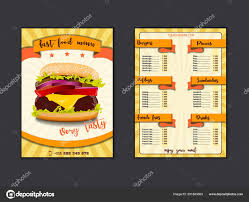 Fast Food Restaurant Menu Template Lunch Dishes And Drinks