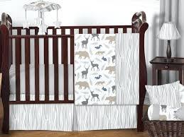 safari crib set unique gray forest animal deer bear neutral baby boy bedding crib set girl
