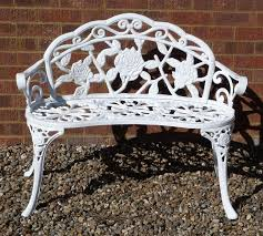 white cast iron patio furniture. white cast iron garden bench furniture rose pattern patio seating seat o