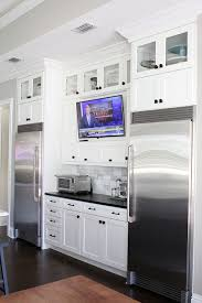 Kitchen Design Planning Beauteous Tv In Kitchen Between Full Size Refrigerator And Full Size Freezer