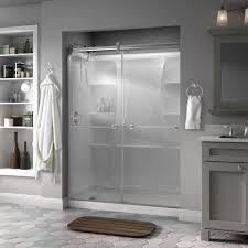 image of delta silverton 60 in x 71 in semi frameless contemporary for sliding shower
